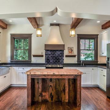 Kitchen with Indigo Subway Tile