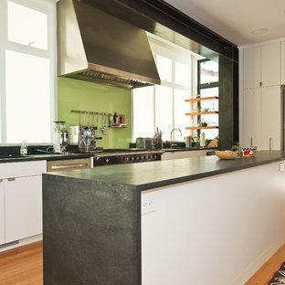 Back Painted Gl Countertop Kitchen Contemporary Idea In San Francisco With Stainless Steel Liances Flat Panel