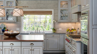 Kitchen with Light Gray Cabinets and Stainless Appliances