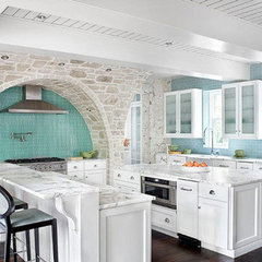 contemporary kitchen kitchen with robin's egg blue backsplash