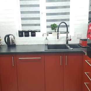 Kitchen with Sprayed Red and White Doors