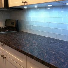 Contemporary Kitchen Kitchen with White Glass Subway Tiles backsplash