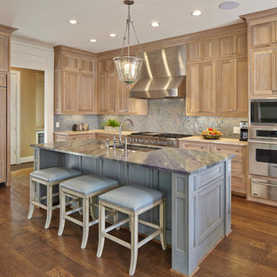 Kitchen with White Oak Cabinets and Cedar Brown Marble Coutnertops