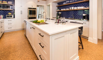 Kitchen with Wood Ceiling and Blue Tile