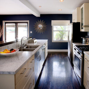 Dark Wood Kitchen Cabinets With Blue Walls Kitchen Ideas Photos Houzz