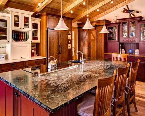 Kitchen pantry in other with an undermount sink raised panel cabinets - 60 Red Kitchen With Green Backsplash Design Ideas