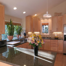 Transitional Kitchen by Artistic Tile & Stone