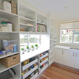 Inspiration for a mid-sized traditional u-shaped kitchen pantry in Sydney with an undermount sink, open cabinets, white cabinets, quartz benchtops, medium hardwood floors, stainless steel appliances and no island.