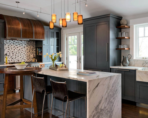 Blue kitchen cabinets houzz - Kitchen design portland maine ...
