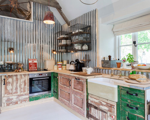 corrugated metal kitchen design ideas remodels photos with metal