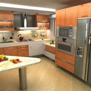 Design ideas for a large modern l-shaped eat-in kitchen in San Diego with flat-panel cabinets, orange cabinets, multi-coloured splashback, stainless steel appliances, with island, a drop-in sink, stone slab splashback, ceramic floors and beige floor.
