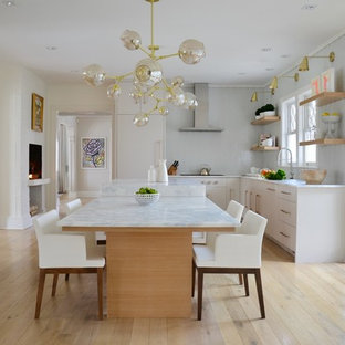 Transitional Kitchen Ideas   Transitional U Shaped Light Wood Floor And  Beige Floor Kitchen Photo