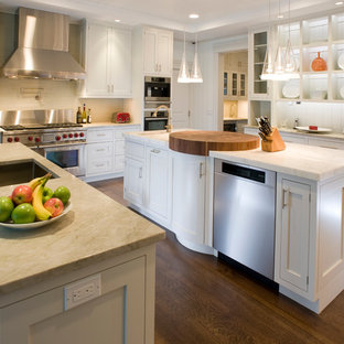 Elegant kitchen photo in New York with stainless steel appliances