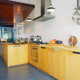 グロスタシャーの広いエクレクティックスタイルのおしゃれなキッチン (アンダーカウンターシンク、中間色木目調キャビネット、木材カウンター、パネルと同色の調理設備、塗装フローリング) の写真
