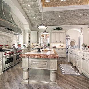 フェニックスの巨大な地中海スタイルのおしゃれなキッチン (エプロンフロントシンク、落し込みパネル扉のキャビネット、中間色木目調キャビネット、ベージュキッチンパネル、モザイクタイルのキッチンパネル、シルバーの調理設備、無垢フローリング、大理石カウンター) の写真