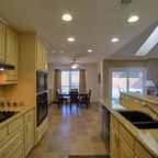 Weathered Wood Kitchen Island Transitional Kitchen