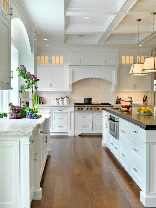 Kitchen   Traditional Kitchen Idea In Boston With A Farmhouse Sink, Marble  Countertops, White