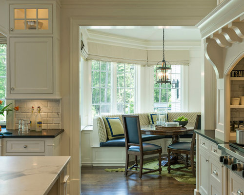 Transitional Kitchen Idea In Boston With Recessed Panel Cabinets White Cabinets White Backsplash
