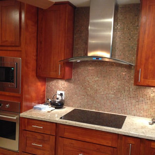 This is an example of a mid-sized traditional u-shaped separate kitchen in Hawaii with an undermount sink, shaker cabinets, dark wood cabinets, granite benchtops, multi-coloured splashback, mosaic tile splashback, stainless steel appliances, ceramic floors and with island.