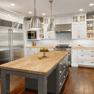 75 Beautiful Dark Wood Floor Kitchen With White Cabinets Pictures