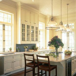 Immagine di una grande cucina abitabile tradizionale con ante con riquadro incassato, ante bianche, top in marmo, parquet scuro e isola