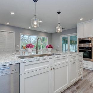 サンフランシスコの小さいモダンスタイルのおしゃれなキッチン (シングルシンク、シェーカースタイル扉のキャビネット、白いキャビネット、珪岩カウンター、グレーのキッチンパネル、セラミックタイルのキッチンパネル、シルバーの調理設備、セラミックタイルの床、茶色い床、黒いキッチンカウンター) の写真