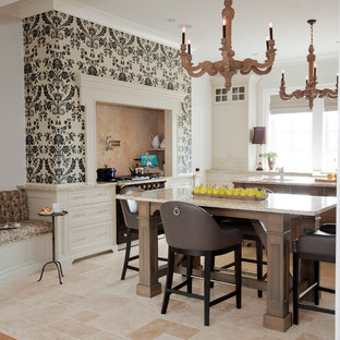 Design ideas for a transitional kitchen in Vancouver with white cabinets, recessed-panel cabinets and beige floor.