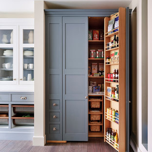 Traditional Kitchen Pantry Designs Example Of A Clic Medium Tone Wood Floor Design