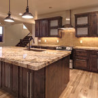 wood backsplash kitchen southern living house rustic kitchen houston by 1127