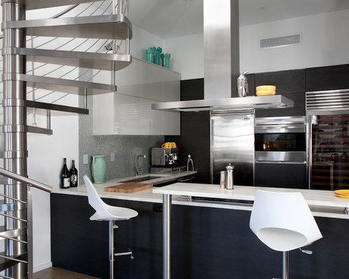 Slim Kitchen Design Ideas Renovations Photos with Black