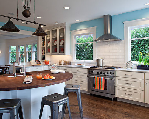 Stove Between Windows Houzz