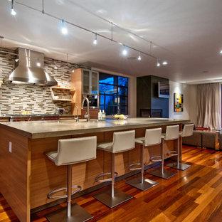 Foto di una cucina ad ambiente unico design con ante lisce, ante in legno scuro, top in cemento, paraspruzzi multicolore, paraspruzzi con piastrelle a listelli e elettrodomestici in acciaio inossidabile
