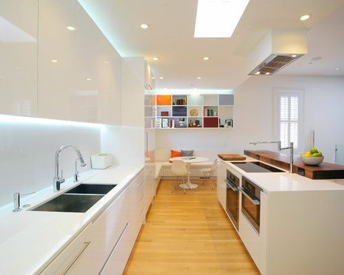 example of a minimalist galley eat in kitchen design in san francisco with a double - Nice Kitchen Designs Photo