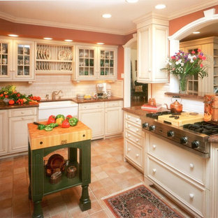 Traditional kitchen appliance - Elegant kitchen photo in Other with an undermount sink, raised-panel cabinets, granite countertops, stainless steel appliances and an island