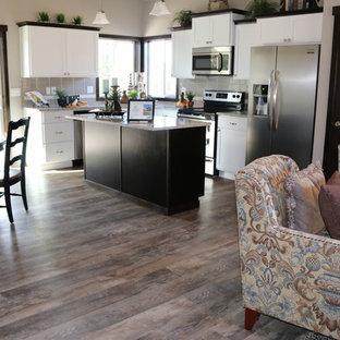 シアトルの大きいコンテンポラリースタイルのおしゃれなキッチン (アンダーカウンターシンク、落し込みパネル扉のキャビネット、白いキャビネット、クオーツストーンカウンター、グレーのキッチンパネル、セラミックタイルのキッチンパネル、シルバーの調理設備の、クッションフロア) の写真