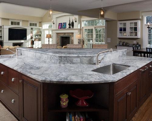 Good L Shaped Dark Wood Floor Open Concept Kitchen Photo In Boston With An  Undermount Sink