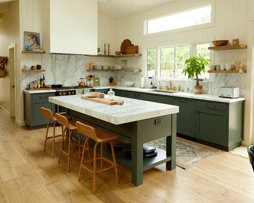 Farmhouse Eat In Kitchen Designs   Inspiration For A Farmhouse L Shaped  Medium Tone Part 66