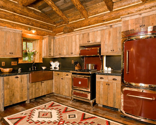 Rustic kitchen with colored appliances design ideas for P kitchen dc united