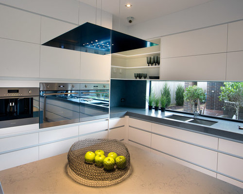 Design Ideas For A Contemporary Kitchen In Melbourne With A Double Bowl  Sink, Flat