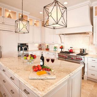 Klassische Küche mit Elektrogeräten mit Frontblende in Tampa