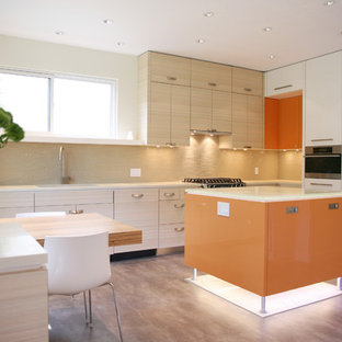 Inspiration for a contemporary kitchen remodel in Vancouver with paneled appliances