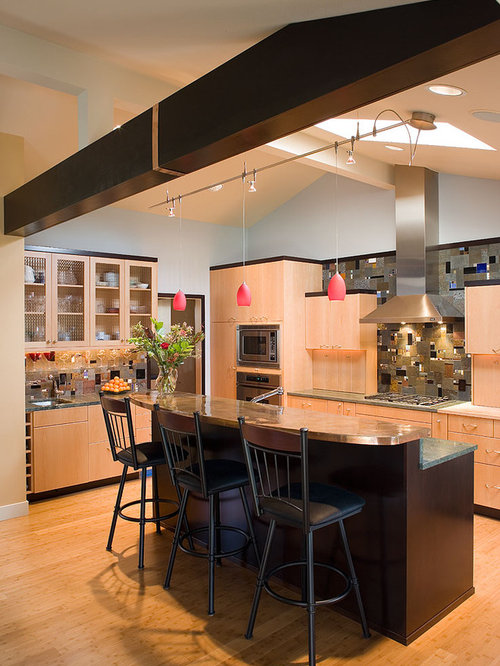 Wood beam track lighting houzz example of a trendy galley kitchen design in portland with flat panel cabinets medium mozeypictures Gallery