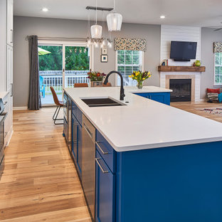 75 Beautiful Light Wood Floor Kitchen With Blue Cabinets Pictures Ideas January 2021 Houzz