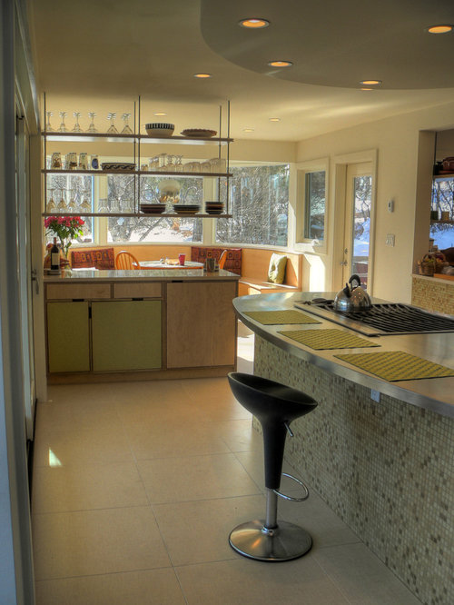Inspiration for a contemporary kitchen remodel in Denver with open  cabinets, green cabinets and stainless