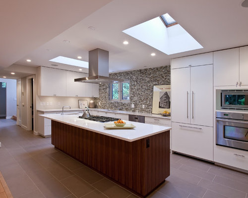 Inspiration For A Contemporary Galley Open Concept Kitchen Remodel In  Vancouver With Stainless Steel Appliances,