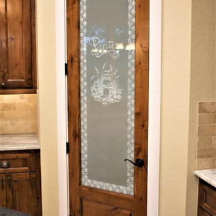 Knotty Alder Frosted Glass Pantry Door
