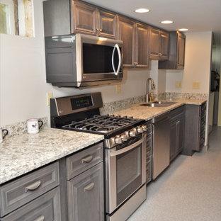 Idéer för att renovera ett avskilt, litet lantligt flerfärgad linjärt flerfärgat kök, med en undermonterad diskho, luckor med upphöjd panel, grå skåp, bänkskiva i kvartsit, rostfria vitvaror, laminatgolv och grått golv