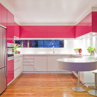 Trendy u-shaped kitchen photo in Los Angeles with flat-panel cabinets, white cabinets and stainless steel appliances
