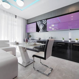 Mid-sized contemporary enclosed kitchen remodeling - Mid-sized trendy u-shaped enclosed kitchen photo in Yekaterinburg with purple cabinets and no island