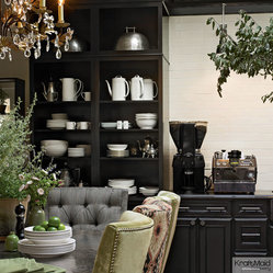 Harrington Maple Square cabinetry in Onyx forms a dramatic butler's ...